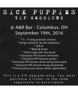 VIP Session Ticket 9-19-16, A&R Bar, Columbus, OH
