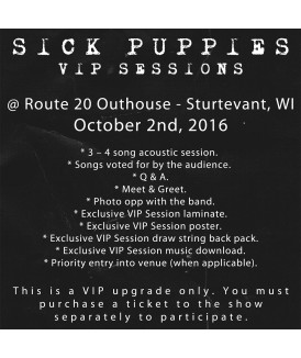 VIP Session Ticket 10-2-16, Route 20 Outhouse, Sturtevant, WI