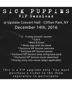 VIP Session Ticket 12-14-16, Upstate Concert Hall, Clifton, NY